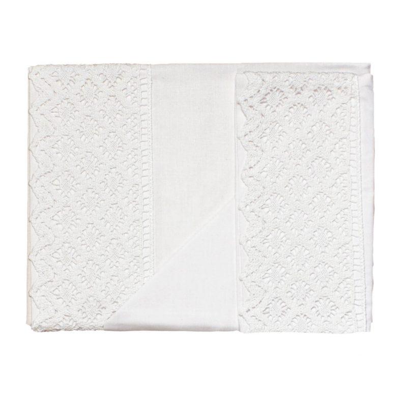 Conjunto de Sábanas Carrito Blanco con encaje Blanco
