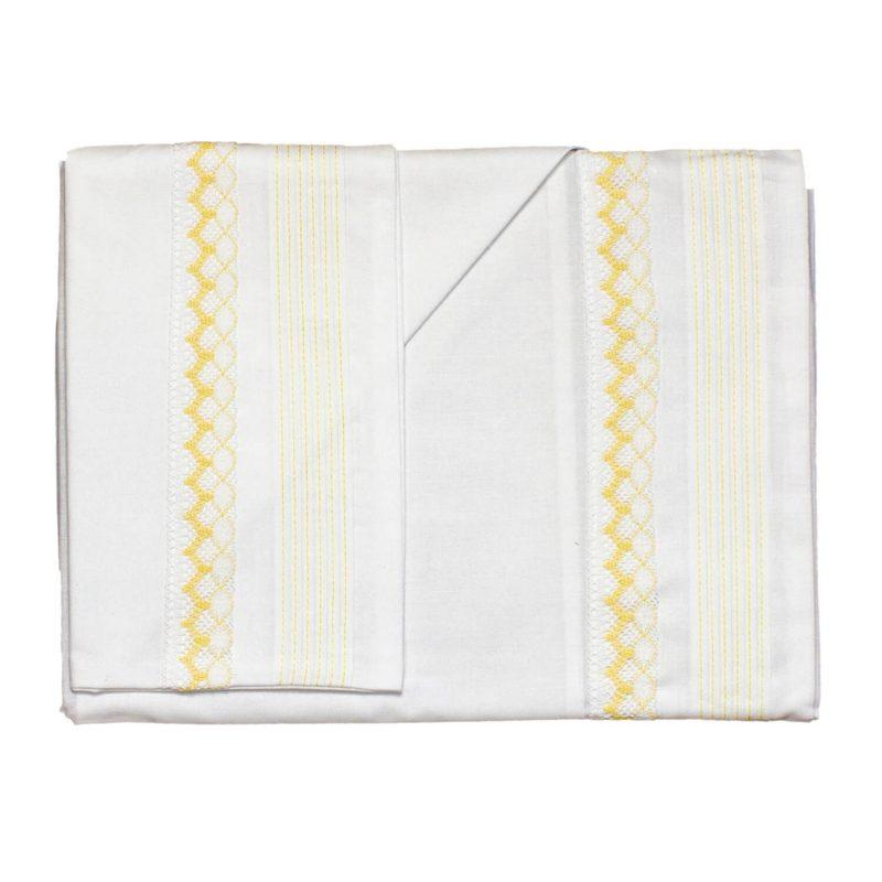 Conjunto de Sábanas Carrito Blanco con tira Amarillo