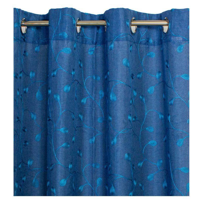 Cortina Azul Bordado