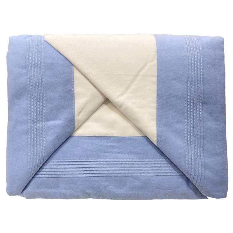 Juago sábana franela blanco con azul