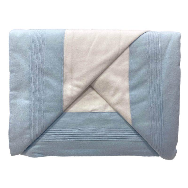 Juago sábana franela blanco con celeste