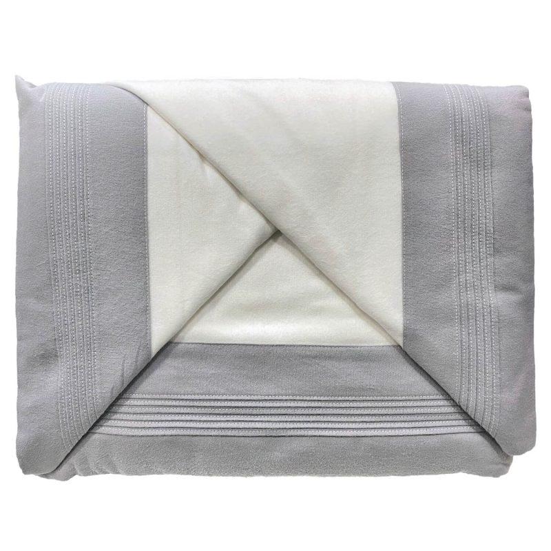 Juago sábana franela blanco con gris