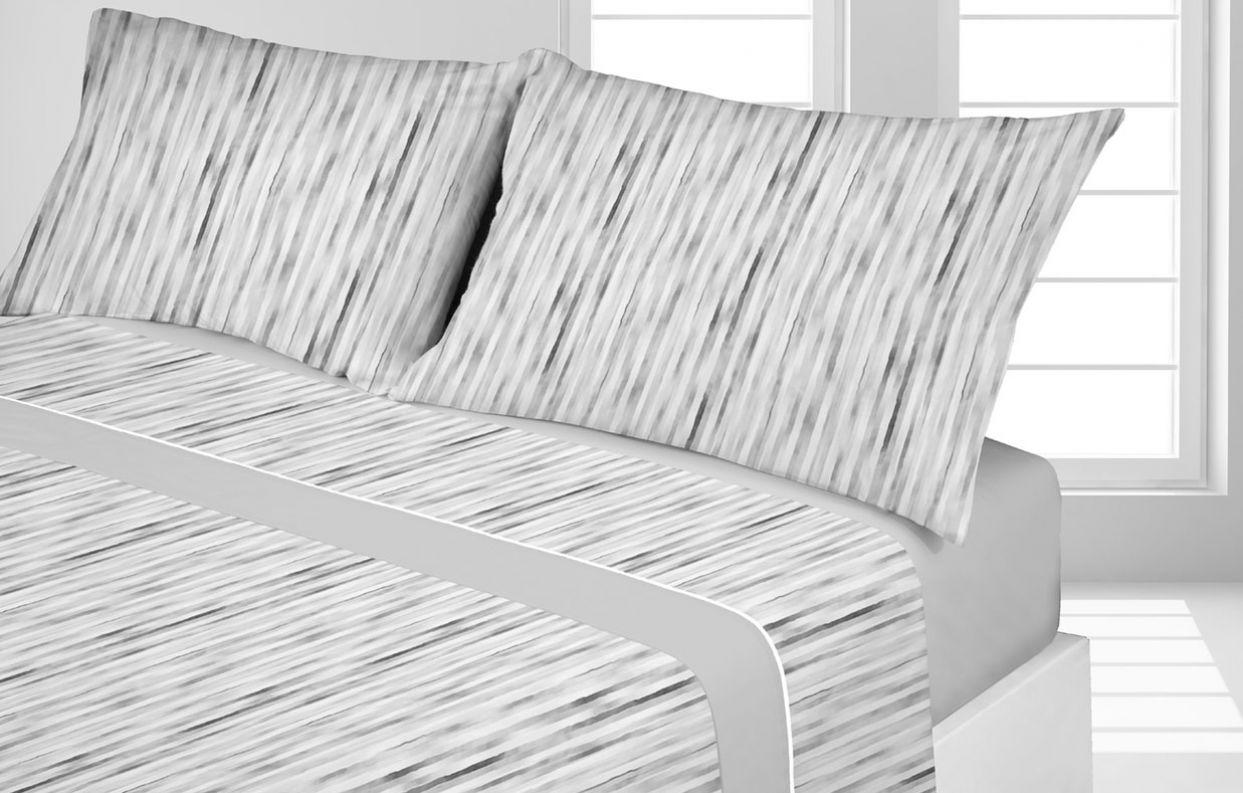 juego sabanas coralina raya gris - cama 135 150 diseño