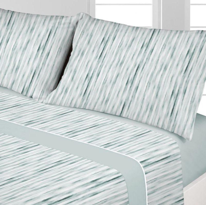 juego sabanas coralina raya verde - cama 135 150 diseño